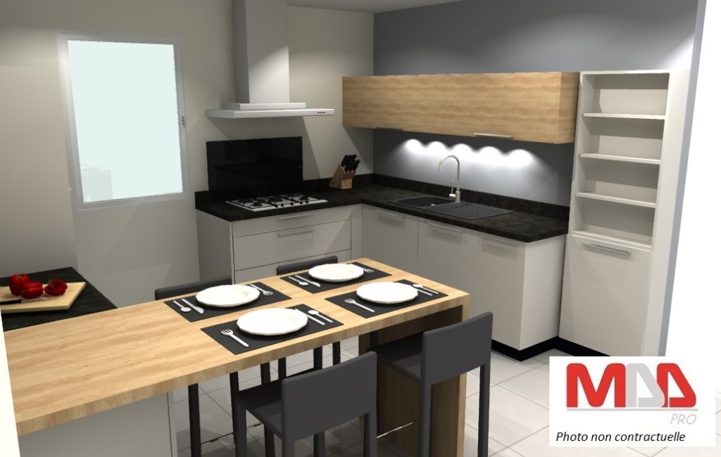 Image 3D de la conception d'une cuisine sur mesure